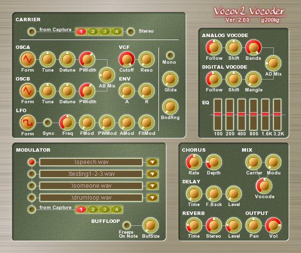 Vocov Vocoder является цифровым / аналоговым гибридным вокодером
